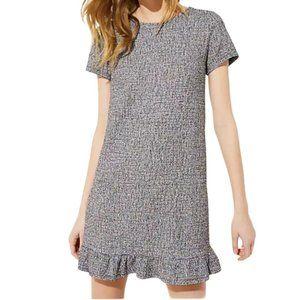 Loft Tweed Boucle Ruffle Hem Midi Shift Dress M
